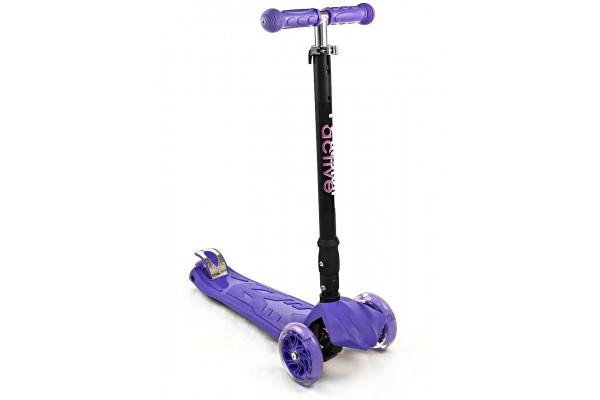 Самокат трехколесный SKL-07CL со складывающейся ручкой Maxi Flash Plus Фиолетовый
